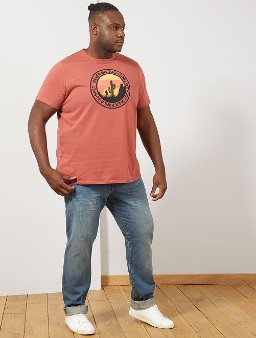 Regular T-shirt met print                                                                                                                                         ROOD Herenmode grote maten