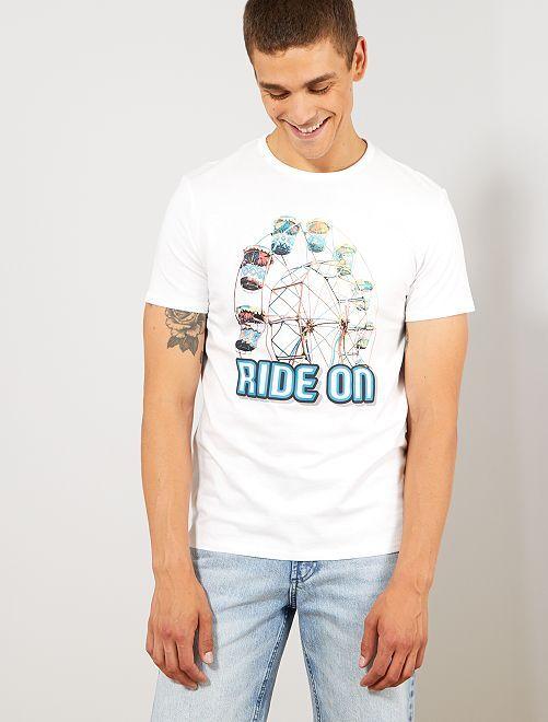 Regular T-shirt met print                                                     WIT