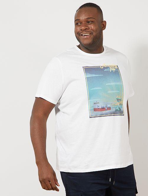 Regular T-shirt met print                                                                                                                                                     WIT Herenmode grote maten