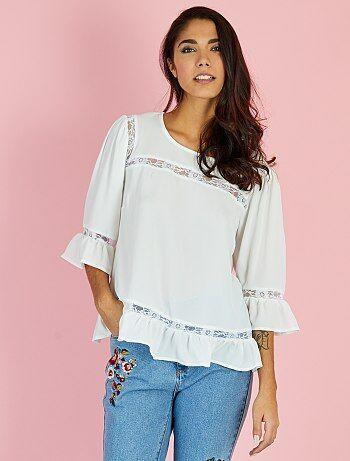 Romantische blouse met kanten inzetstukken - Kiabi