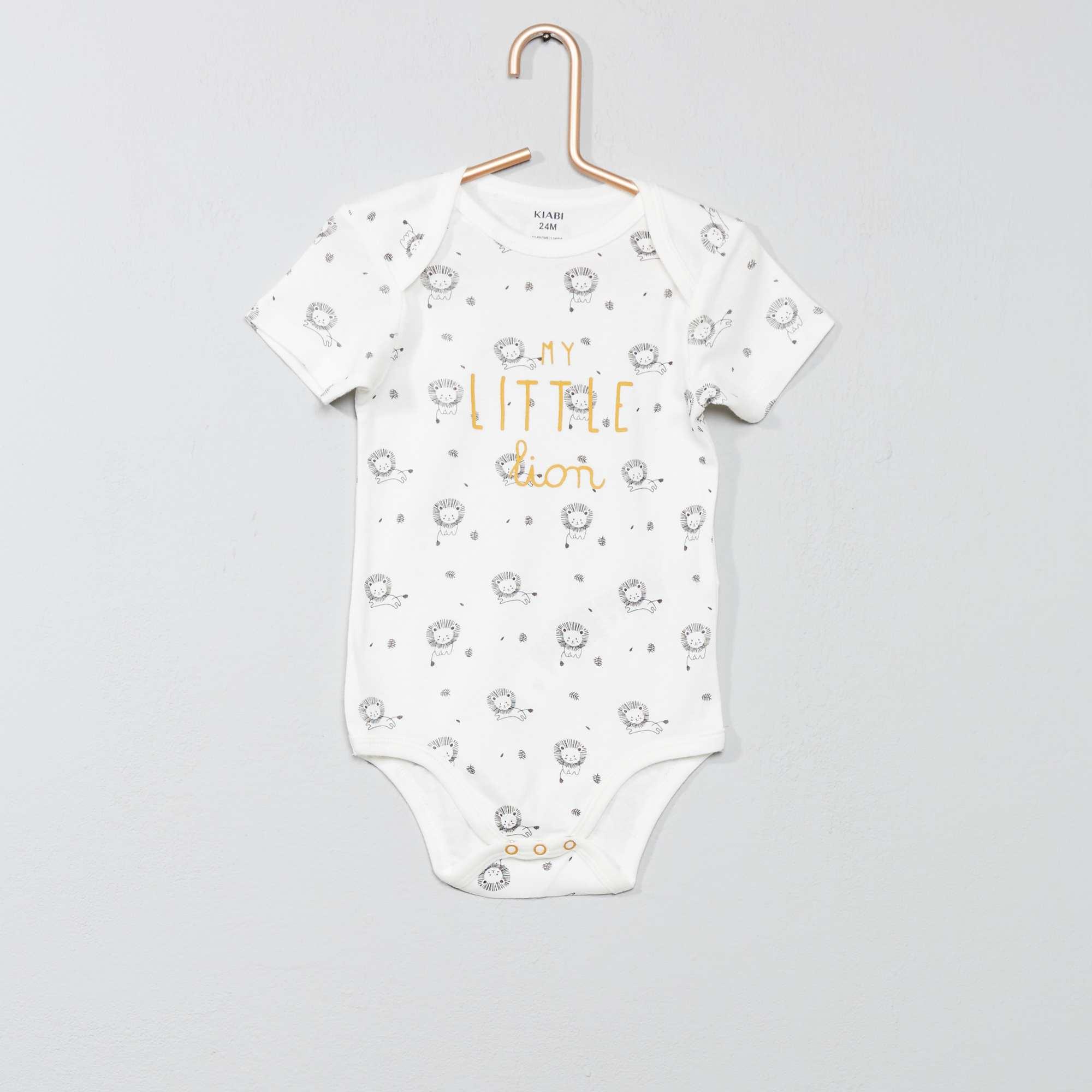 Babykleding Print.Rompertje Met Print En Envelophals Jongens Babykleding Wit Kiabi