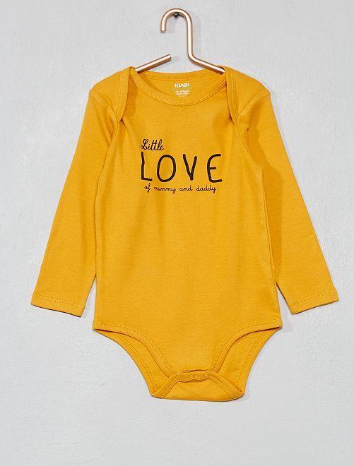 Rompertje van biologisch katoen met print                                                                                         GEEL Jongens babykleding