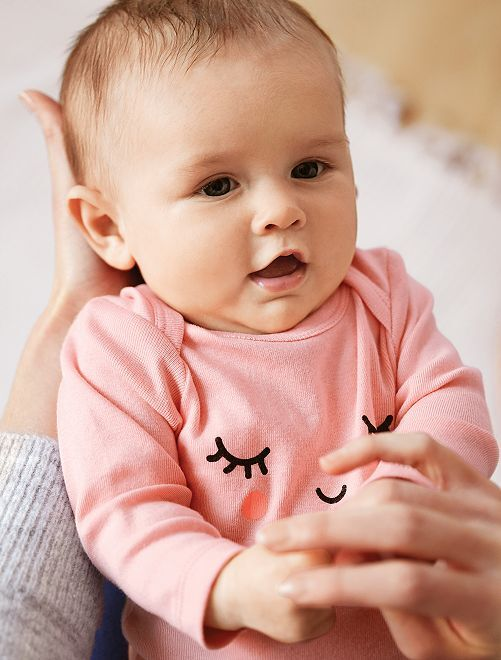 Rompertje van biologisch katoen met print                                                                             GEEL Meisjes babykleding