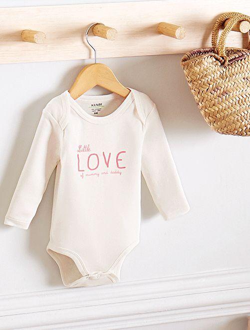Rompertje van biologisch katoen met print                                                                             WIT Meisjes babykleding