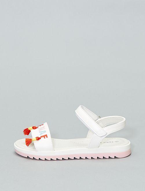 Sandalen met borduursels van 'Naf Naf'                             wit Kinderkleding meisjes