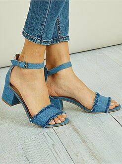 Sandalen met hak - Sandalen met denim look - Kiabi