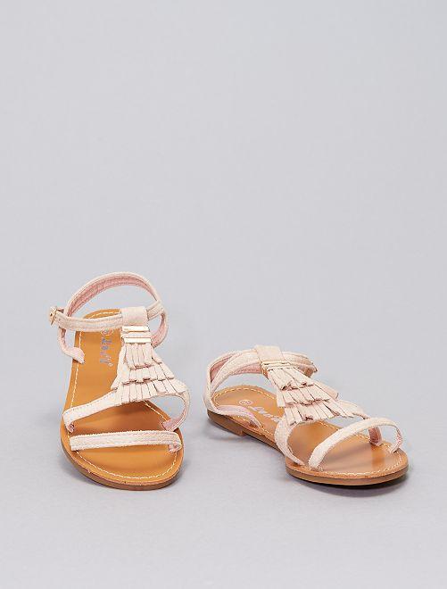 Sandalen met franjes                             BIEGE