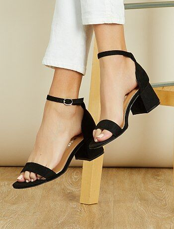 Sandalen met hak van suèdine - Kiabi