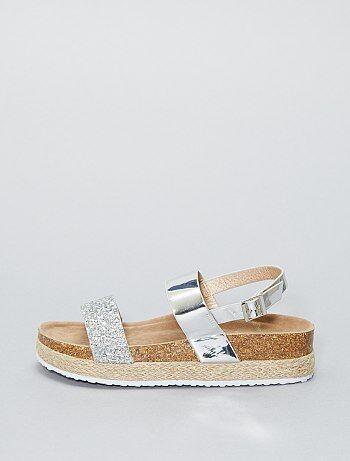 Sandalen met plateauzool en strass - Kiabi
