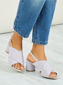 Sandalen met hak - Sandalen met ronde hakken - Kiabi