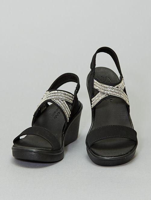 Sandalen met sleehak en stras 'Skechers'                             zwart