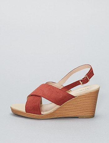 Sandalen met sleehak van suèdine - Kiabi