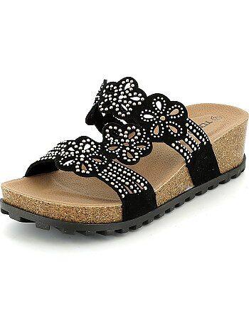 Sandalen met sleehakken met strass - Kiabi
