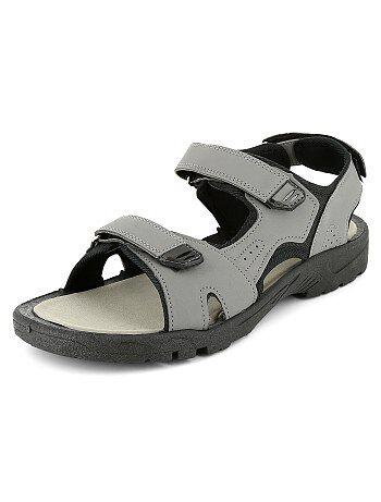 Sandalen van imitatieleer en textiel met klittenbandjes - Kiabi