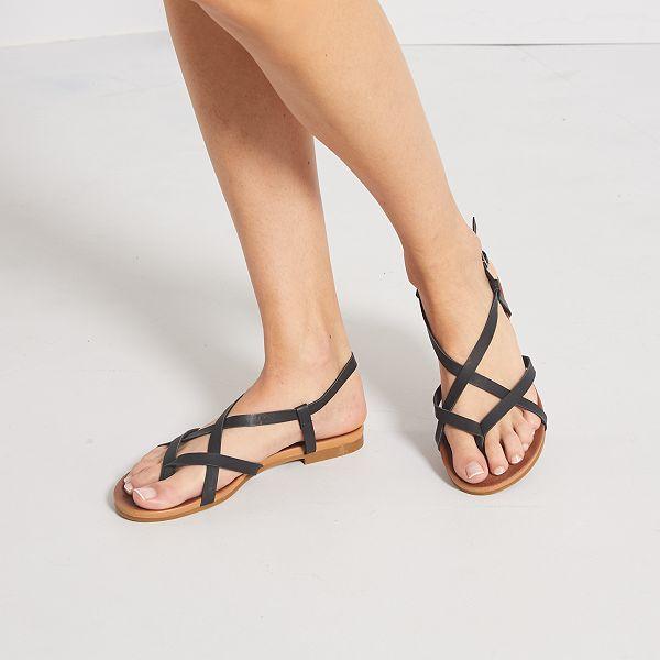 Sandalen van iriserend nepleer
