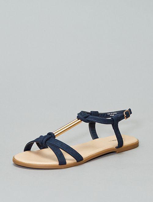 Sandalen van suèdine met sieraad                                         BLAUW Schoenen