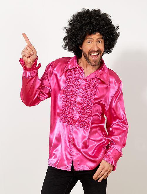 Satijnachtig disco-overhemd                                                                 fuchsia paars Heren
