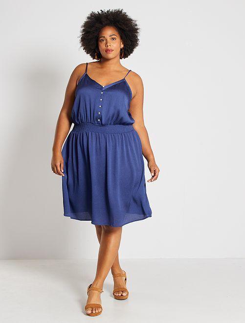 Satijnachtige jurk met geaccentueerde taille                                         kobalt blauw