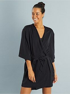 Satijnen badjas met Peignoir Japanse print