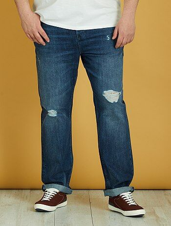 Semi-slimfit jeans met slijtplekken - Kiabi