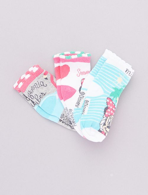 Set met 3 paar sokken 'Minnie'                                         grijs