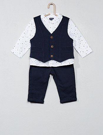 Jongen 0-36 maanden - Set met een T-shirt, vest en broek - Kiabi