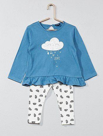 Meisje 0-36 maanden - Set met laagvallend T-shirt en legging - Kiabi