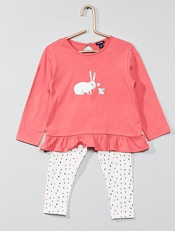 Set met laagvallend T-shirt en legging - Kiabi