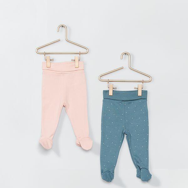 Set Van 2 Leggings Met Voetjes Ecodesign Meisjes Babykleding Groen Kiabi 8 00