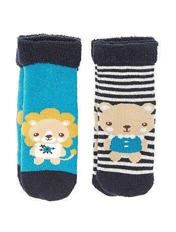 Set van 2 paar sokken van bouclé met dierenprint - Kiabi