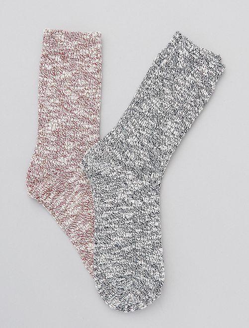 Set van 2 paar sokken van gemêleerd tricot                             BLAUW