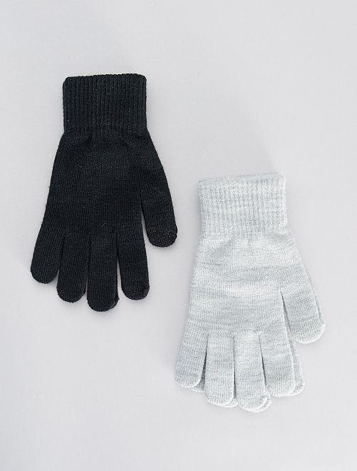 Set van 2 paar tactiele handschoenen                                                     GRIJS