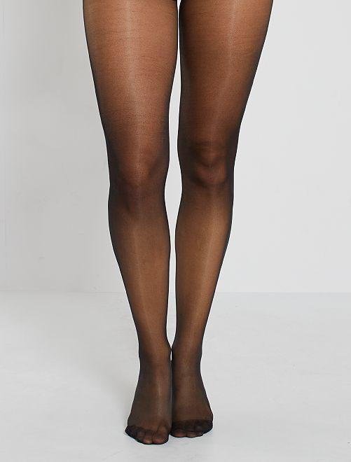 Set van 2 panty's van voile 20D                                                                 zwart Lingerie maat s-xxl