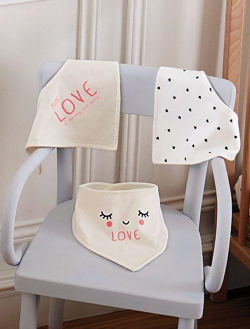Set van 3 bandana slabbetjes                                         GEEL Meisjes babykleding