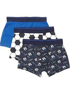 Kinderondergoed - Set van 3 boxershorts met print van 'voetbal' - Kiabi