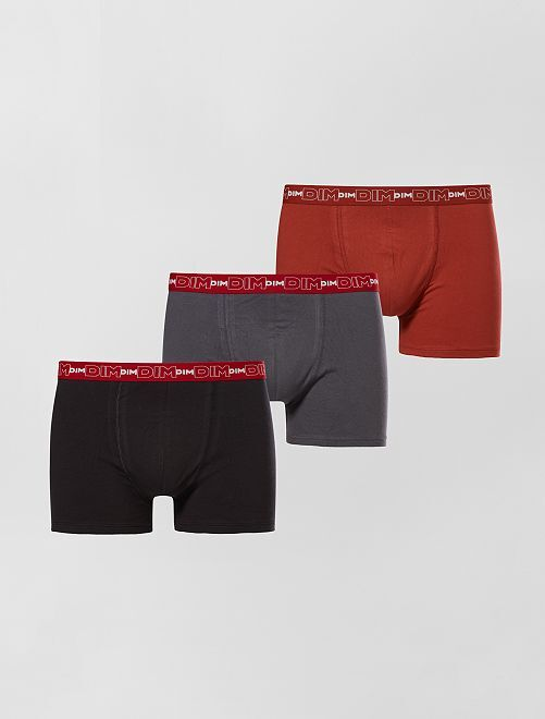 Set van 3 boxershorts van stretch katoen van DIM                                                                                                     grijs/rood / zwart