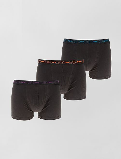 Set van 3 boxershorts van stretch katoen van DIM                                                                                                     zwart Herenkleding