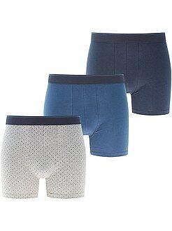 Ondergoed - Set van 3 long fit boxershorts van stretch katoen - Kiabi