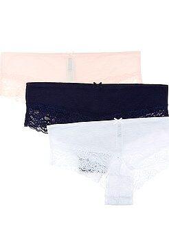 Lingerie multipacks - Set van 3 shorty's van polykatoen met kanten details