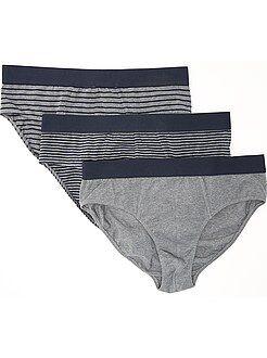 Ondergoed - Set van 3 slips van stretch katoen - Kiabi
