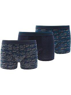 Ondergoed - Set van 3 stretch katoenen boxershorts