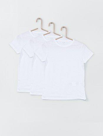 Jongenskleding 3-12 jaar - Set van 3 witte T-shirts - Kiabi