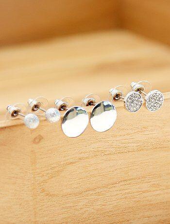 Set van 3 zilverkleurige oorbellen - Kiabi