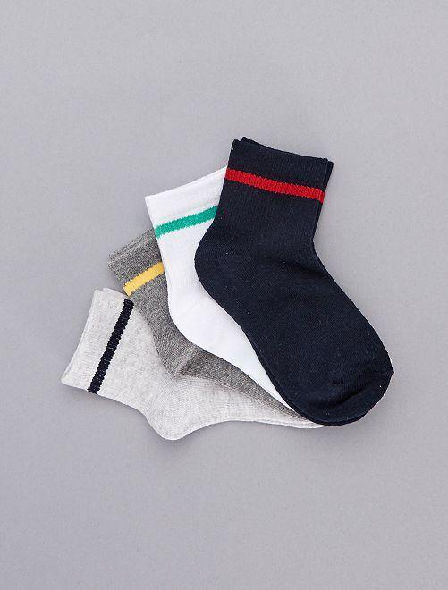 Set van 4 paar gestreepte sokken                             ROOD Kinderkleding jongens