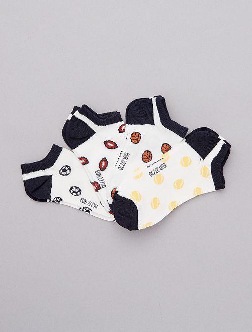 Set van 4 paar lage sokken                             WIT Kinderkleding jongens