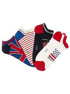 Sokken - Set van 4 paar onzichtbare sokken met vlaggenprint