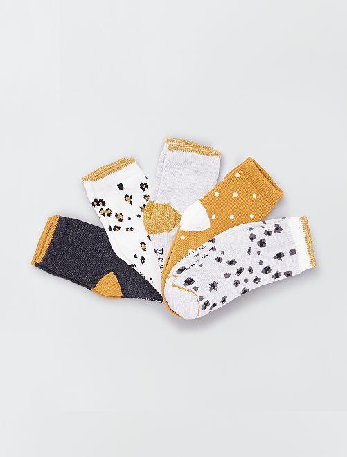 Set van 5 paar ecologisch ontworpen sokken                                                                                                                                         GEEL