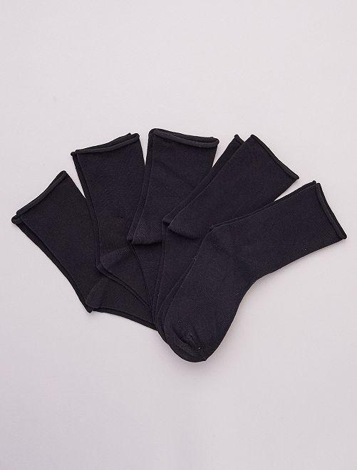 Set van 5 paar effen sokken van biologisch katoen                                         zwart