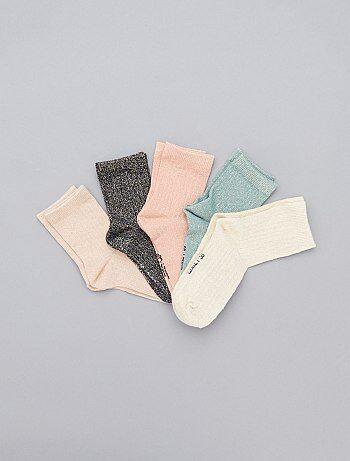 Set van 5 paar glanzende sokken - Kiabi