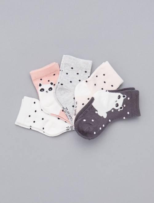 Set van 5 paar met print                                                                             BLAUW Meisjes babykleding